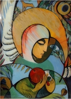 "Painting on Glass ""Angel with Apple"""