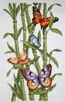 """Картина крестиком """"Бабочки и бамбук"""""""