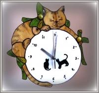"""Годинник вітражний """"Сплячий кіт"""""""