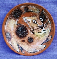 "Decorative Plate ""Purring Cat"""