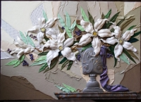 """Leather Painting """"Lilies"""""""