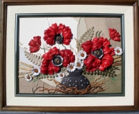 """Leather Painting """"Poppies"""""""